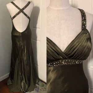 Olive green beaded open plunge back dress formal